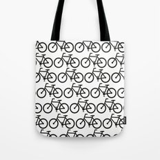 Bicycle Stamp Pattern - Black and White - Fixie Fixed Gear Bike Tote Bag