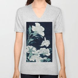 JAPANESE FLOWERS Midnight Blue teal Unisex V-Neck