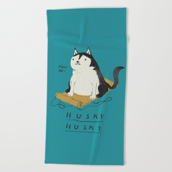 husky husky Beach Towel