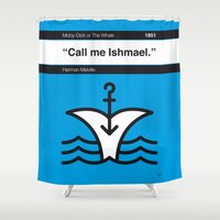 moby dick Shower Curtains featuring No001 MY MOBY DICK Book Icon poster by Chungkong