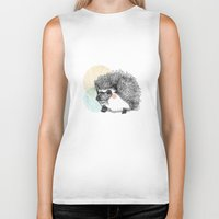 hedgehog Biker Tanks featuring Hedgehog by Wood + Ink