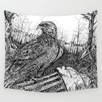 hawk Wall Tapestries featuring Backyard Hawk by miranda mcguire