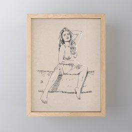Model pose sketch 02 Framed Mini Art Print