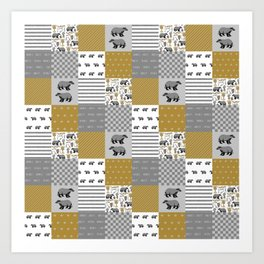 Badger House cheater quilt patchwork wizarding witches and wizards Art Print