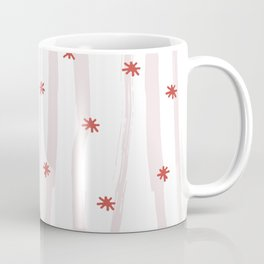 Pastel pink red abstract hand painted stripes stars Coffee Mug