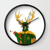 superheroes Wall Clocks featuring superheroes sf by Jesse Robinson Williams