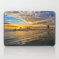 calendars iPad Cases featuring Sunset ~ Huntington Beach Pier CA  11/12/13 by John Minar Fine Art Photography