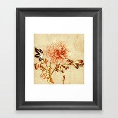 peach and golden floral Framed Art Print
