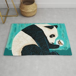 The Panda and The Butterfly - turquoise version Rug