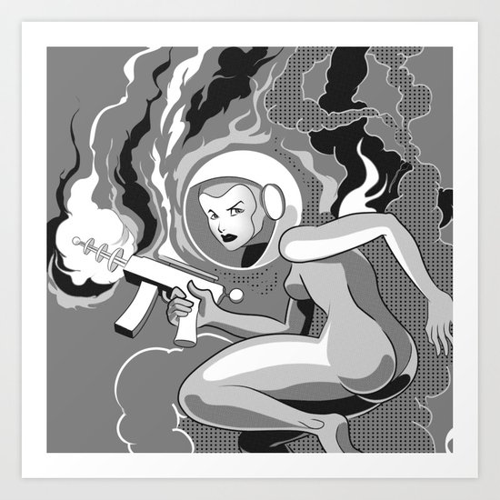 Space Girl with a Gun Art Print