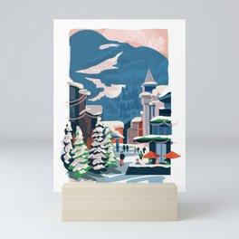 Whistler village in the snow Mini Art Print