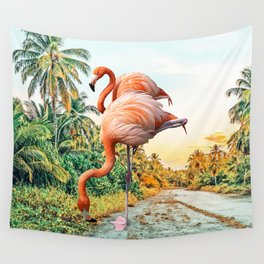 Flamingo Vacay #photography #surrealism Wall Tapestry