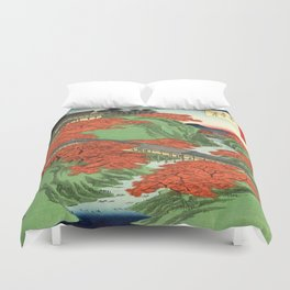 Hiroshige Temple & Mountains Duvet Cover