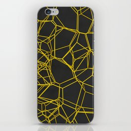 Yellow voronoi lattice on black background iPhone Skin