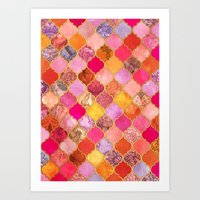 bedding Art Prints featuring Hot Pink, Gold, Tangerine & Taupe Decorative Moroccan Tile Pattern by micklyn