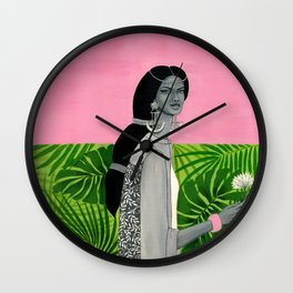 girl with a flower Wall Clock