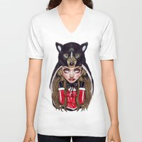 red hood V-neck T-shirts featuring Red Riding Hood by Giulio Rossi
