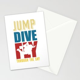 Jump Dive Fly through the sky Stationery Cards