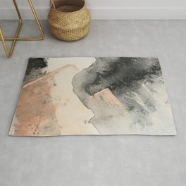 Peace and Quiet [2]: a pretty, minimal abstract piece in gray and peach by Alyssa Hamilton Art Rug