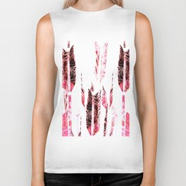 Red Black and White Tribal Boho Feathers Biker Tank