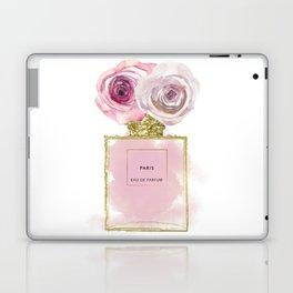 Pink & Gold Floral Fashion Perfume Bottle Laptop & iPad Skin