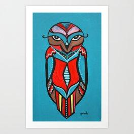 Turquoise Owl Art Print
