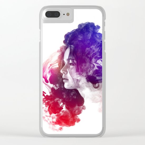 Jennifer Lawrence Watercolor Psychedelic Portrait Pepe Psyche Clear iPhone Case