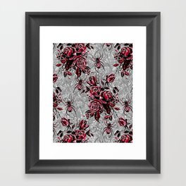 Vintage Roses and Spiders on Lace Halloweeen Watercolor Framed Art Print