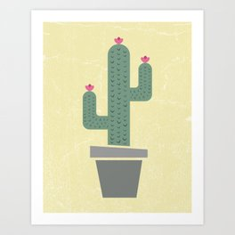 Solitary cactus on a yellow wall Art Print