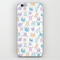 sloths iPhone & iPod Skins featuring Lazy Sloths Doodle - Pastel and Kawaii by KiraKiraDoodles