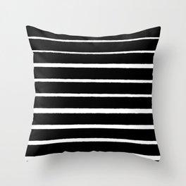 Rough White Thin Stripes on Black Throw Pillow