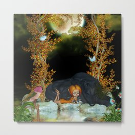 Cute fairy with wolf Metal Print