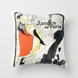 Jane Avril French can-can Jardin de Paris Throw Pillow