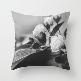 Mini Roses Black White Throw Pillow