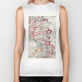Cool Vintage Map of Mississippi River - Sheet 6 Biker Tank