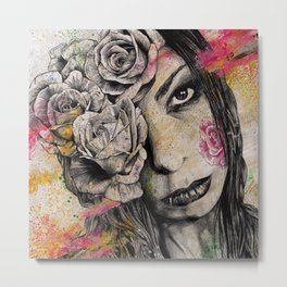 Of Suffering (dark lady portrait with roses) Metal Print
