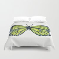 lime Duvet Covers featuring Lime Butterfly by Cat Coquillette