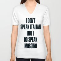 moschino V-neck T-shirts featuring Moschino by cvrcak
