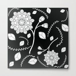 Graphic Flowers in black Metal Print