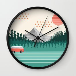 Oregon - retro throwback 70s vibes travel poster van life vacation mountains to sea Wall Clock