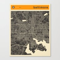 baltimore Canvas Prints featuring BALTIMORE by Jazzberry Blue