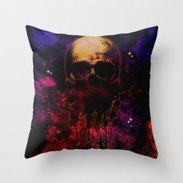 Cosmic Destiny Skull Illustration Throw Pillow