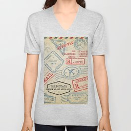 Retro Stamp Unisex V-Neck