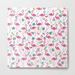 Tropical pink watercolor flamingo sweet summer fruit pattern Metal Print