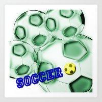 brasil Art Prints featuring Soccer Brasil by LoRo  Art & Pictures