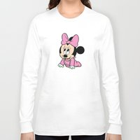 minnie mouse Long Sleeve T-shirts featuring Cute baby Minnie Mouse by Yuliya L