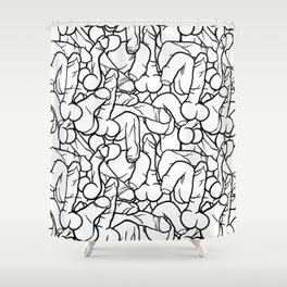 Schlong Song in White, All the Penis! Shower Curtain