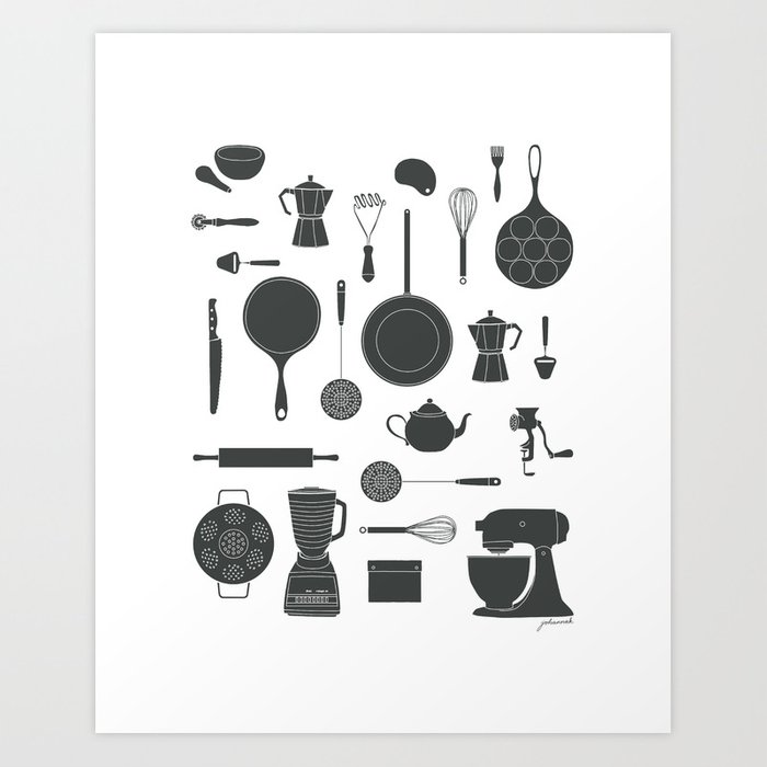 Kitchen Tools (black on white) Art Print