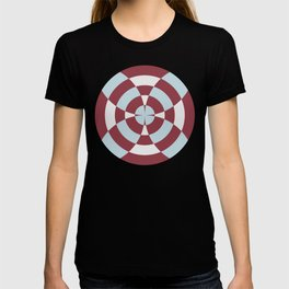 Simple geometric stripe flower red and blue T-shirt