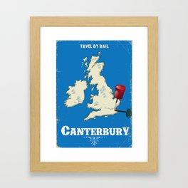 canterbury Vintage rail travel poster Framed Art Print